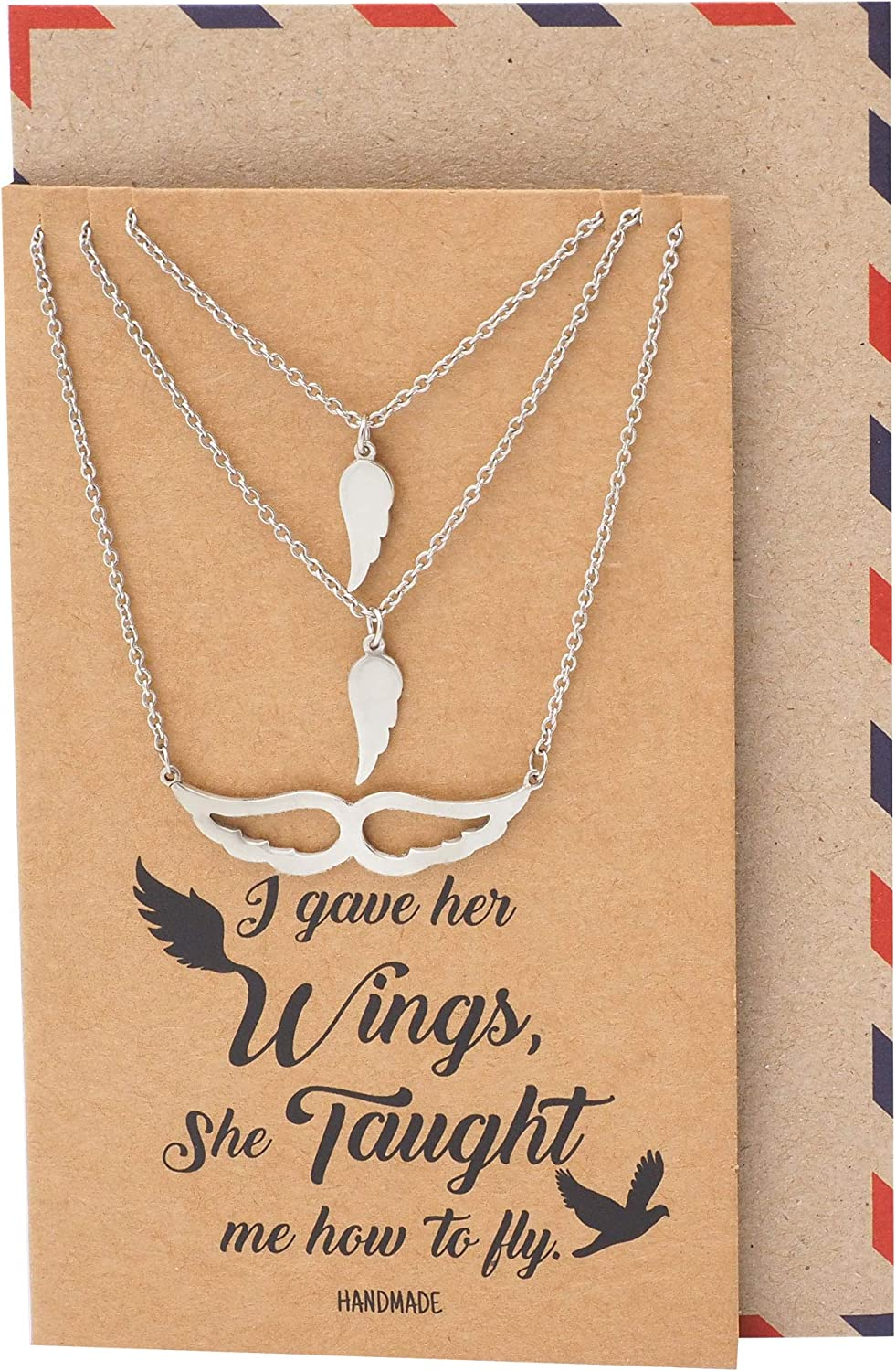 925 Sterling Silver Angel Wing Pendant Necklace with Motivational Quote Card