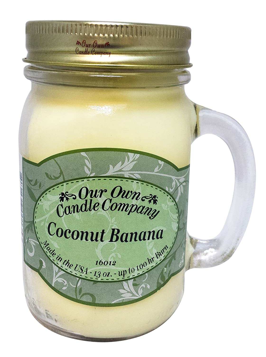 Our Own Candle Company Coconut Banana Scented 13 Ounce Mason Jar Candle