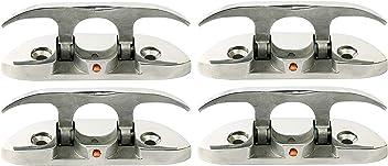 MarineNow 6 Pack 15 Marine Hollow Base Cleat 316 Stainless Steel Herrishoff Style