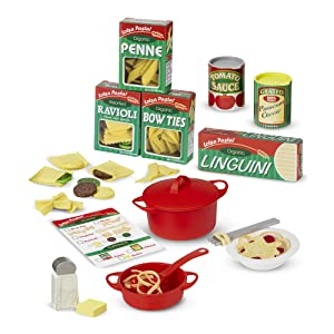 "Melissa & Doug 9361 Prepare & Serve Pasta, Pretend Play, Felt Kitchen Set, Easy to Use, 50-Piece Set, 10"" H x 9"" W x 3"" L, Yellow"