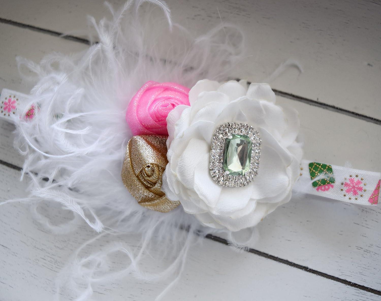 Christmas Flower Baby//Toddler //Girl Vintage Headband Handmade Holiday //Fall