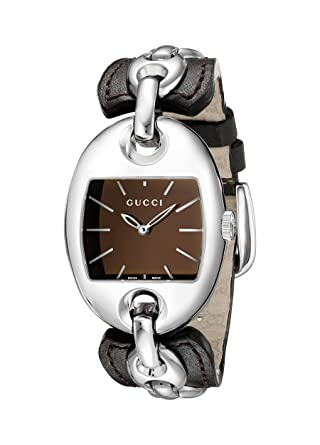 14498a69936 Amazon.com  Gucci Marina Chain Medium Steel and Camel Leather Bangle  Women s Watch(Model YA121310)  Watches