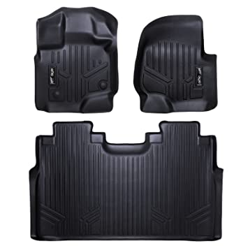 Amazon Com Maxfloormat Floor Mats  Row Set Black For   Ford F  Supercrew Cab With St Row Bucket Seats Automotive