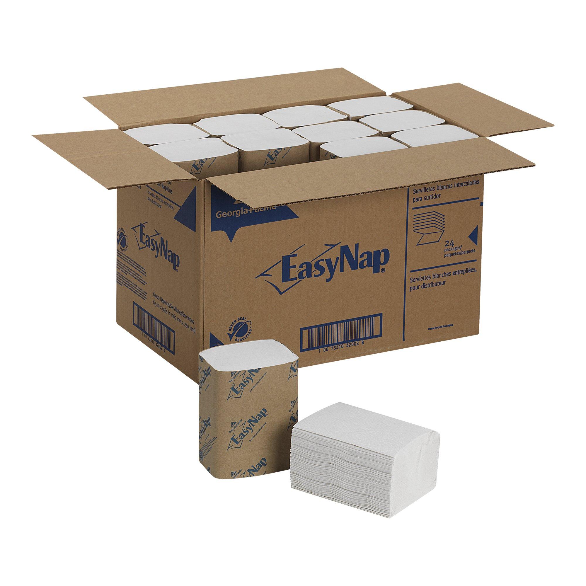 EasyNap 32002 9.85'' Length, 6.50'' Width Embossed Dispenser Napkin (24 packs of 250)