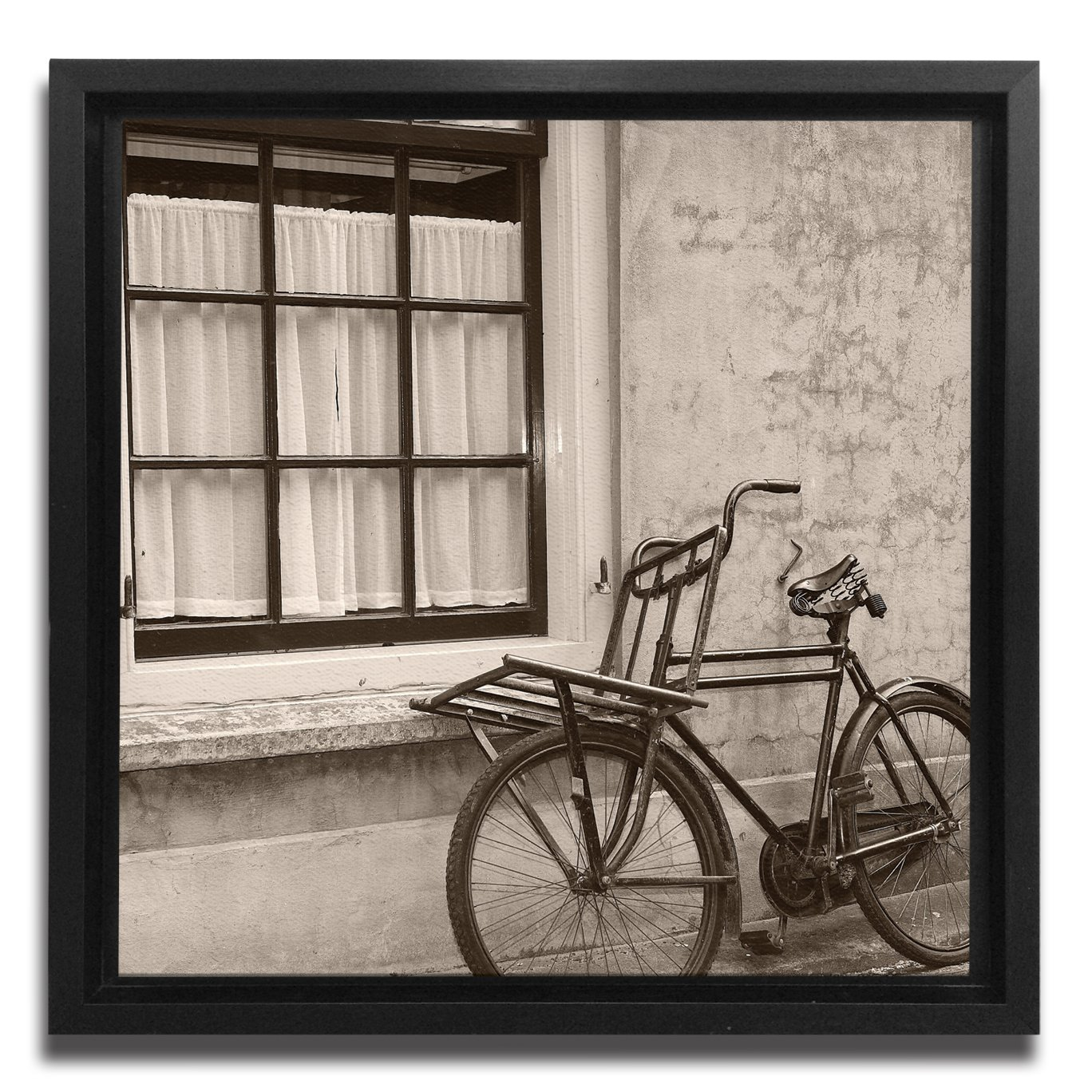 JP London Ready to Hang Made in North America Framed 1.5in Thick Gallery Wrap Canvas Wall Art Old School Sepia Italy Streets 18in SQSFCNV2038