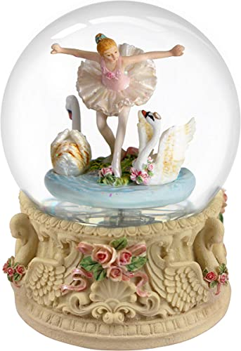 Nice Pies Big 3D Snow Globe Featuring a Ballerina Dancing in a Swan Lake Wonderland Rotate Music Box with Colorful Lights Automatic Snowflake Home Decorations