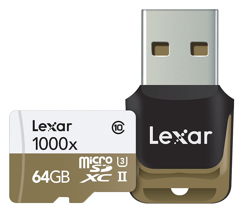 Lexar Scheda di Memoria MicroSDXC da 64 GB, UHS-II 1000x, Lettore Classe 10 U3, Bianco/Oro