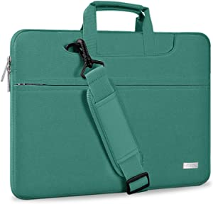 "Hseok Laptop Shoulder Bag 13 13.3 13.5 Inch Briefcase, Compatible 13.3 MacBook Air/Pro, XPS 13, Surface Book 13.5"" Spill-Resistant Handbag with Shoulder Strap for Most 13""-13.5"" Notebook, Dark Green"