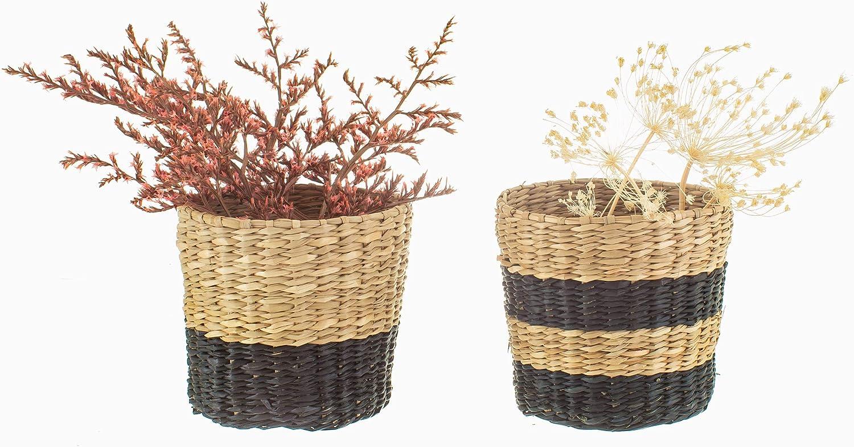 Set of 2 Sass /& Belle Mini Black Seagrass Planters