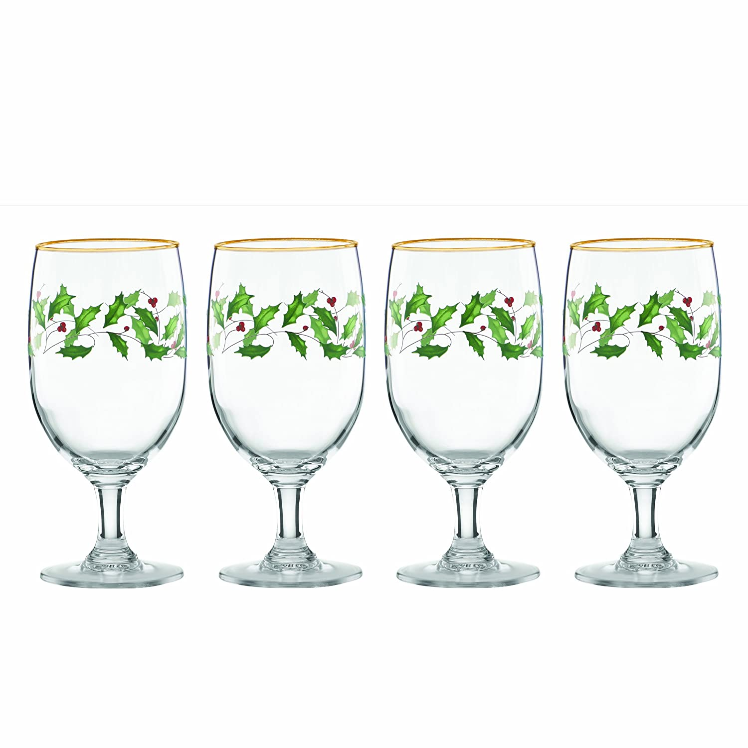 Christmas Holly Water Goblets