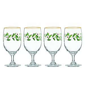 Lenox 849606 Holiday 4-Piece Iced Beverage Glass Set