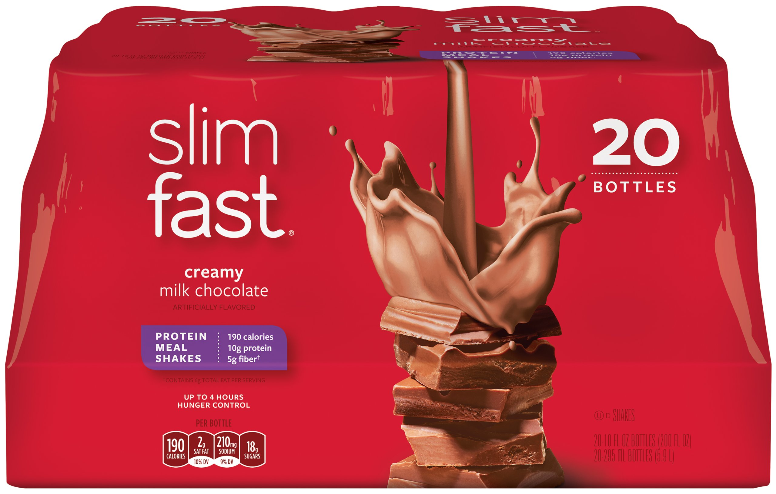 Slim Fast Original weight loss Meal Replacement RTD shakes with 10g of protein and 4g of fiber plus 24 Vitamins and Minerals per serving, Creamy Milk Chocolate,  20 Count by SlimFast