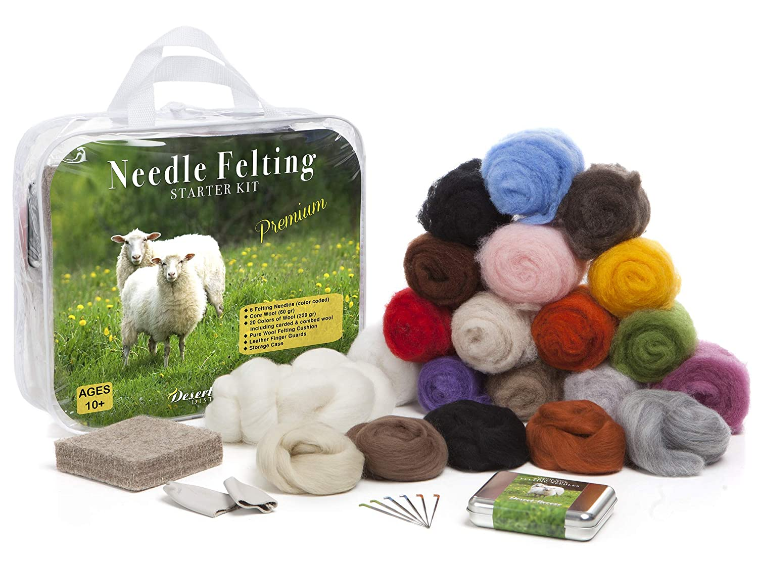 Pure Wool Felting Pad 6 Needles Various Sizes 20 Colors Wool Premium Needle Felting Kit for Beginners Storage Case Leather Finger Guards