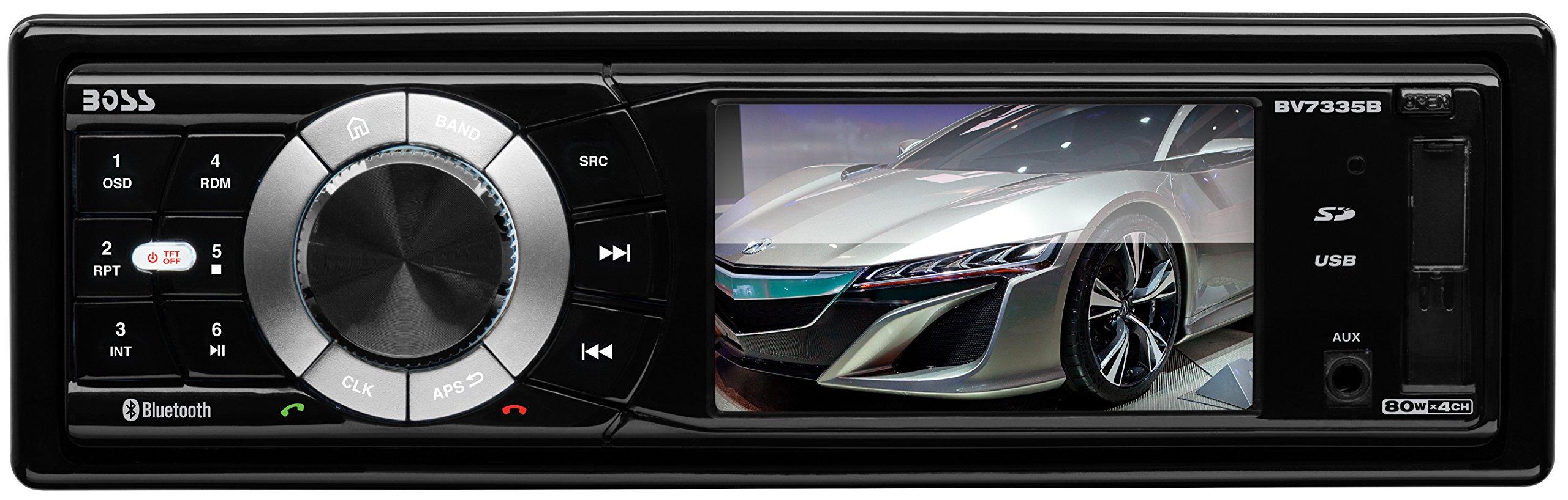 BOSS Audio BV7335B Single Din, Bluetooth, DVD/CD/MP3/USB/SD AM/FM Car Stereo, 3.2 Inch Digital LCD Monitor, Detachable Front Panel, Wireless Remote