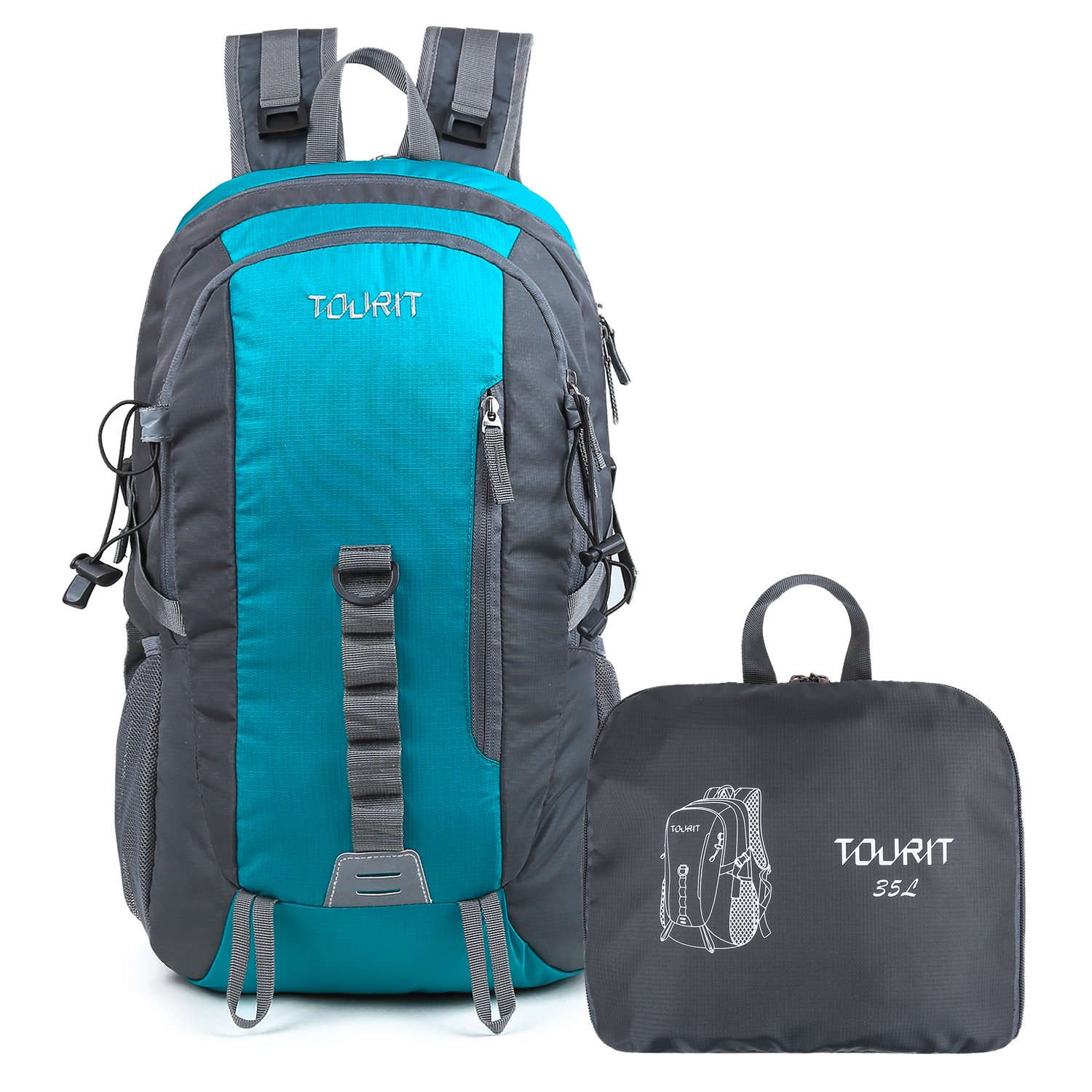TOURIT Lightweight Travel Hiking Backpack Packable Foldable Daypack Waterproof Back Packs for Hiking, Large Capacity 35L for Men Women Boys Girls to Picnics, Sport, Outdoor