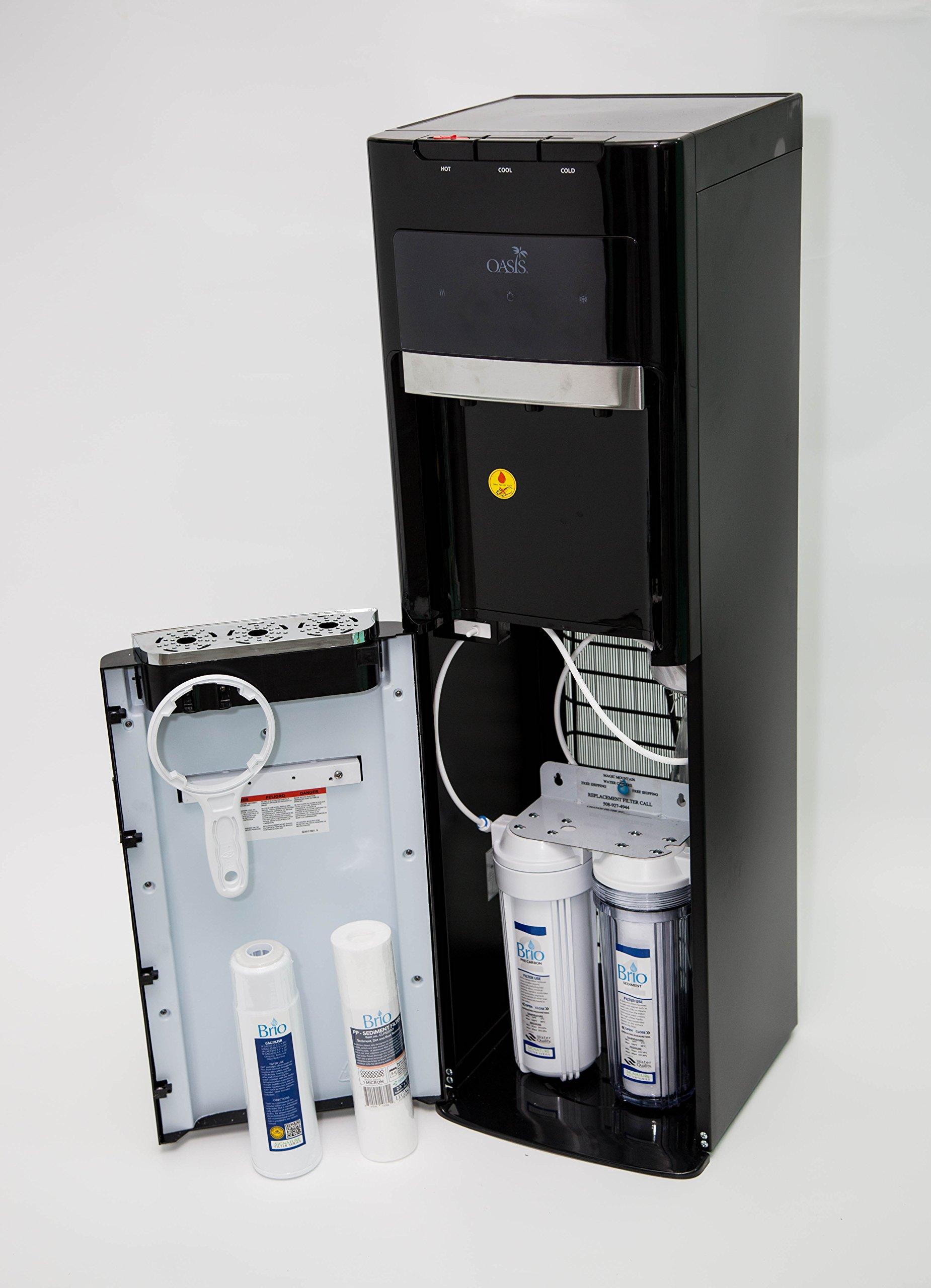 Oasis Bottleless Water Dispenser, Tri-Temp (Hot, Cold, Room-Temp) (2 Stage 10'' Standard)
