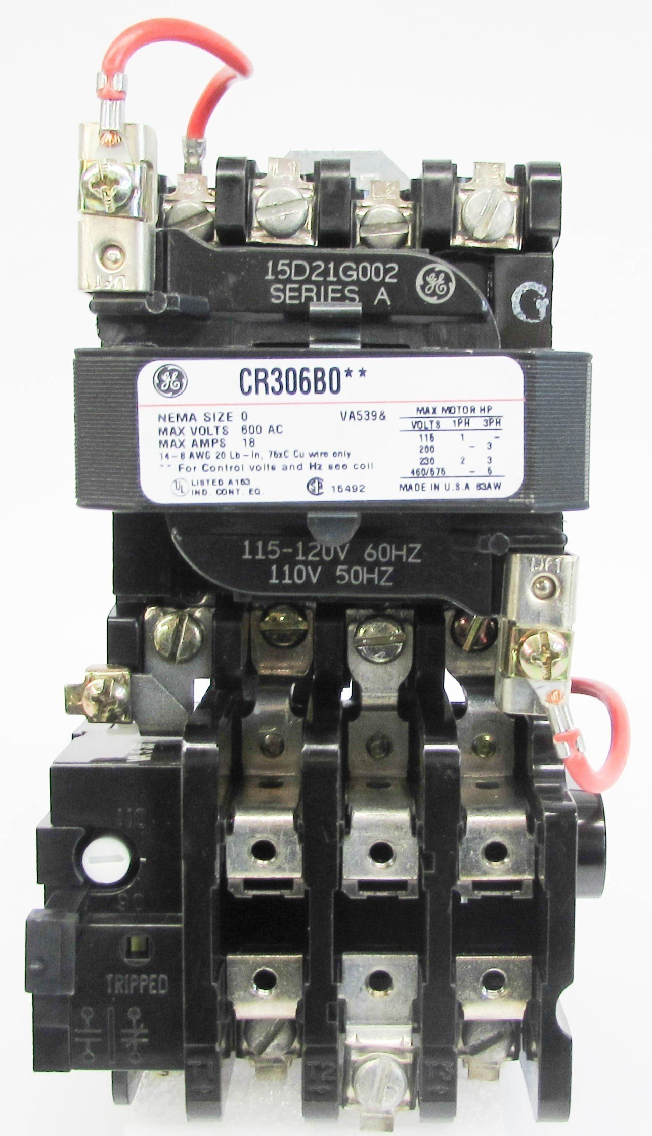 GENERAL ELECTRIC CR306B002 3P 18A 120V 120Coil Size 0 Open Type Enclosed Starter by General Electric Products (Image #2)