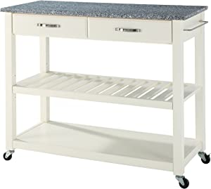 Crosley Furniture Portable Kitchen Cart with Solid Grey Granite Top - White