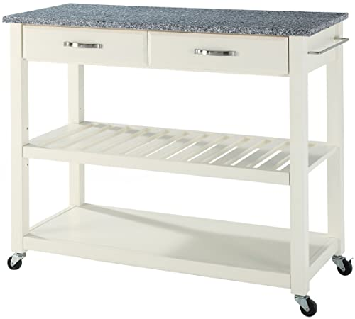 Crosley Furniture Portable Kitchen Cart with Solid Grey Granite Top – White