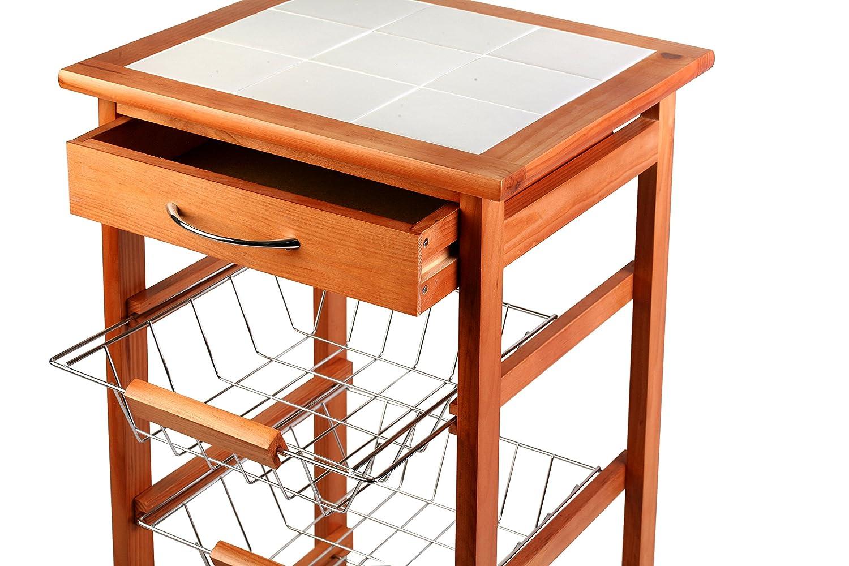 Marrone Faggio Scuro Archimede C002W Carrello da Cucina 47 x 37 x 76 cm