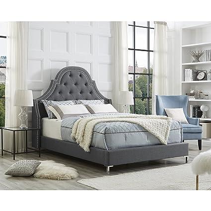 Good InspiredHome Light Grey Linen Bedframe U2013 Design: Leonardo | Queen Size |  Tufted | Modern
