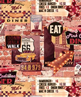 american diner wallpaper usa brick effect rustic slate cars route ... - American Diner Küche
