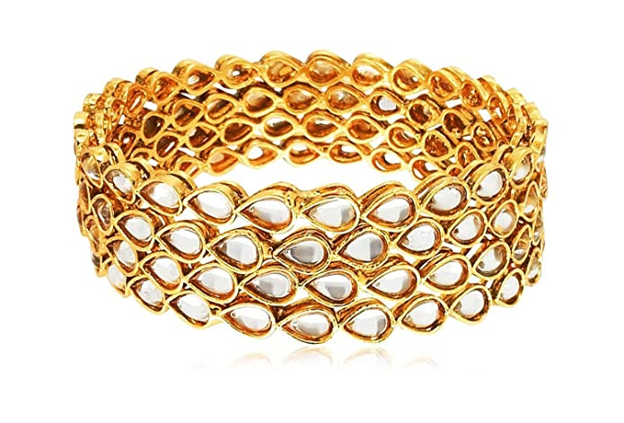 Buy Youbella Gold Plated Kundan Jewellery Bangles For Women (2.4) at Amazon.in