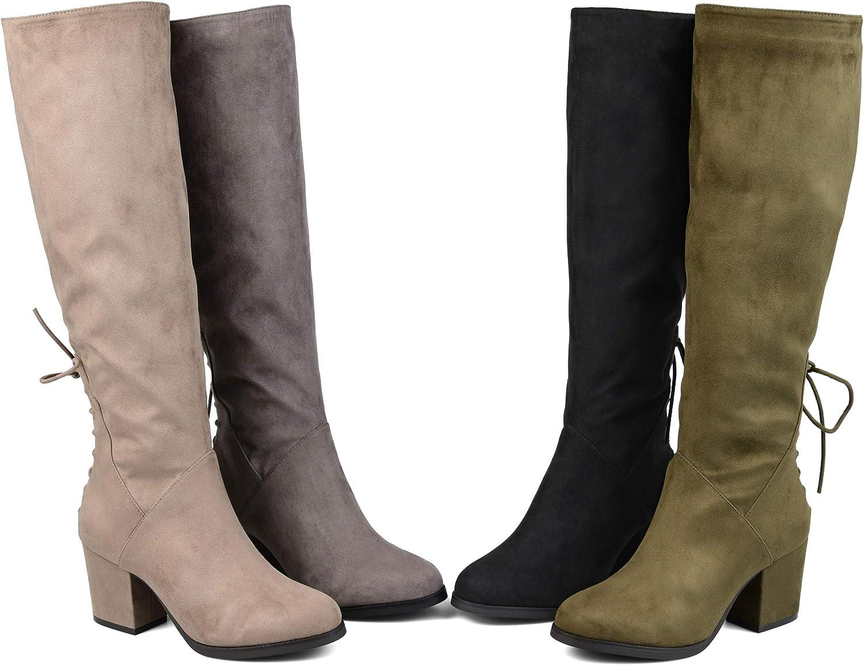 Extra Wide Calf Knee-High Heeled Boot Wide Calf Brinley Co Womens Regular