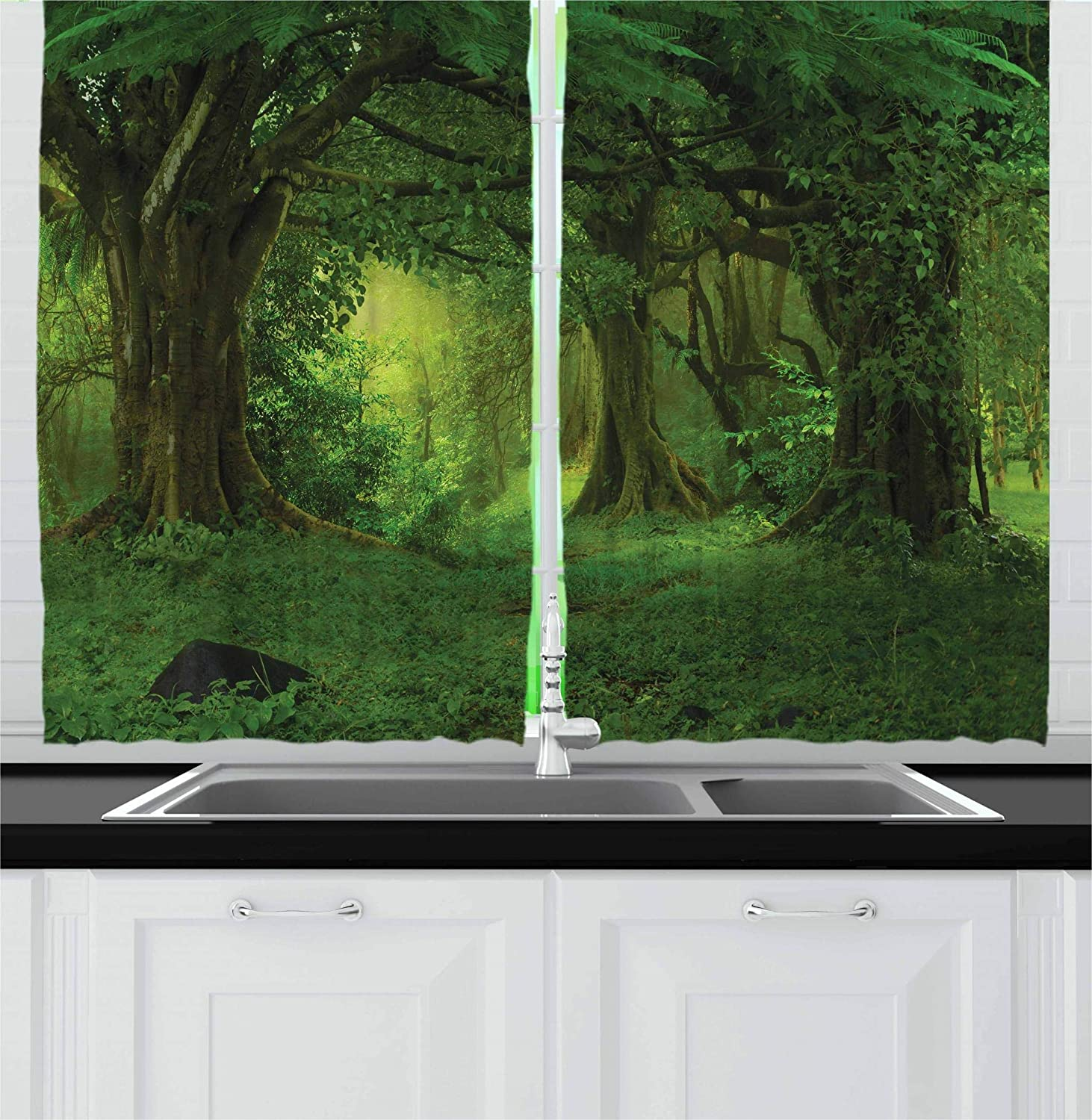 Ambesonne Nature Decor Kitchen Curtains, Deep Tropical Jungle Trees Foliage Woodland Asian Himalayas Meditation Landscape, Window Drapes 2 Panels Set for Kitchen Cafe, 55 W X 39 L Inches, Green