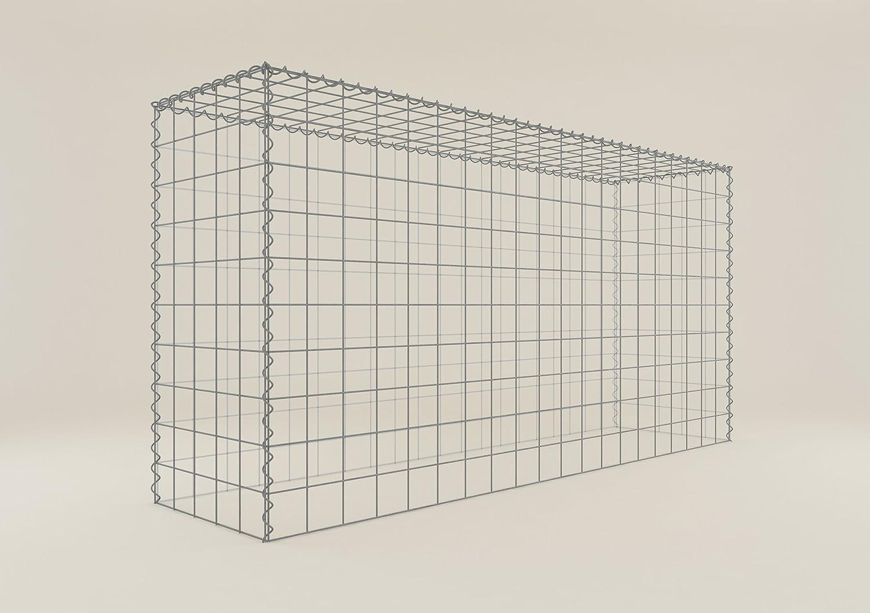 Steinkorb-Gabione eckig, Maschenweite 10 x 10 cm, Tiefe 50 cm, Anbau-Korb Typ 3, Spiralverschluss, galvanisch verzinkt (200 x 100 x 50 cm)