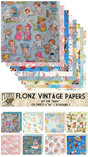 Paper Pack (24blatt 15x15cm) Baby Newborn FLONZ Vintage Muster ...