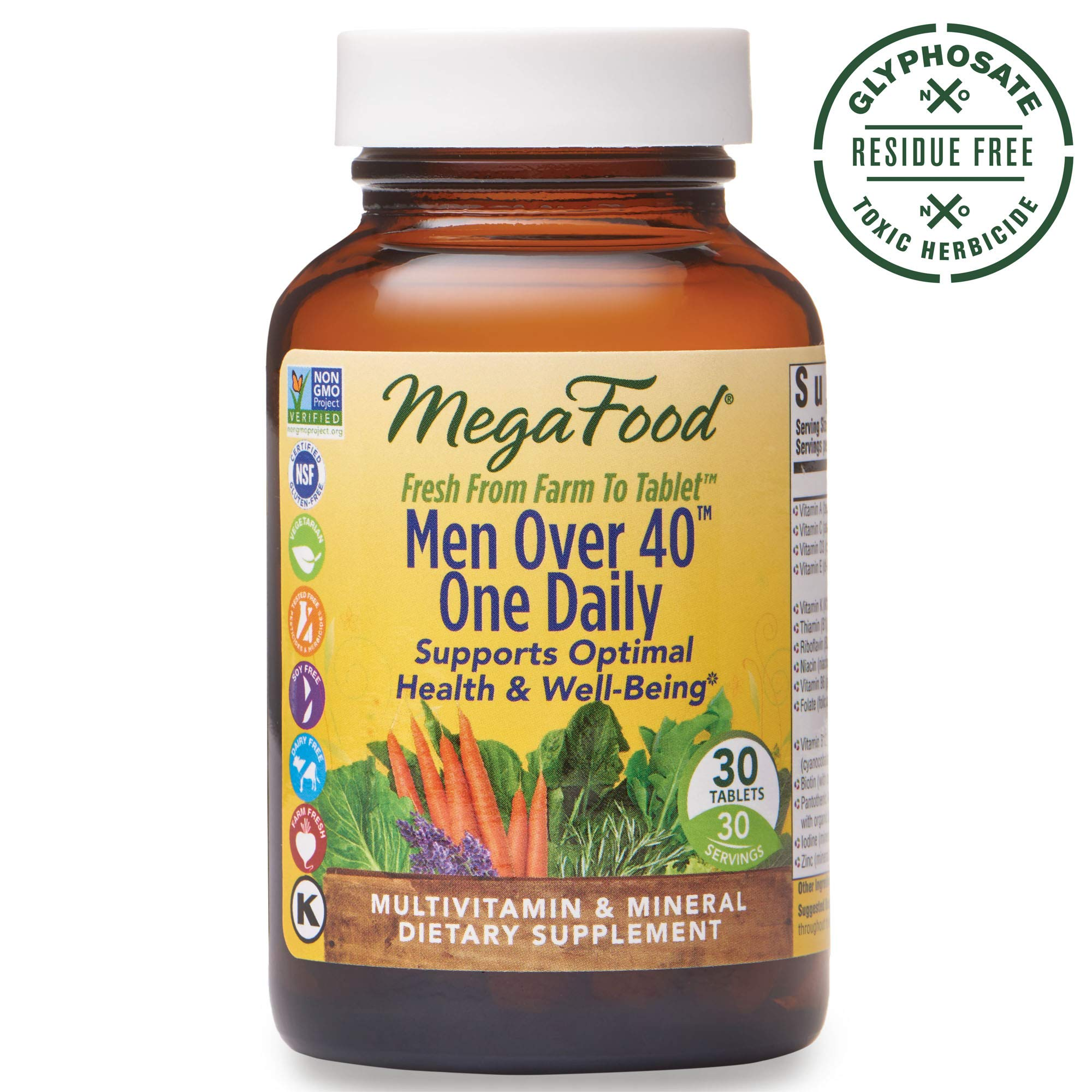 MegaFood, Men Over 40 One Daily, Daily Multivitamin and Mineral Dietary Supplement with Vitamins B, D and Zinc, Non-GMO, Vegetarian, 90 Tablets (90 Servings) (FFP) by MegaFood