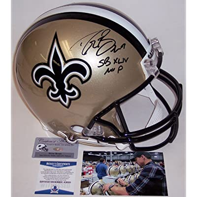 a75693819 Drew Brees Autographed Hand Signed New Orleans Saints Full Size Authentic  Football Helmet - with SB XLIV MVP Inscription - BAS Beckett