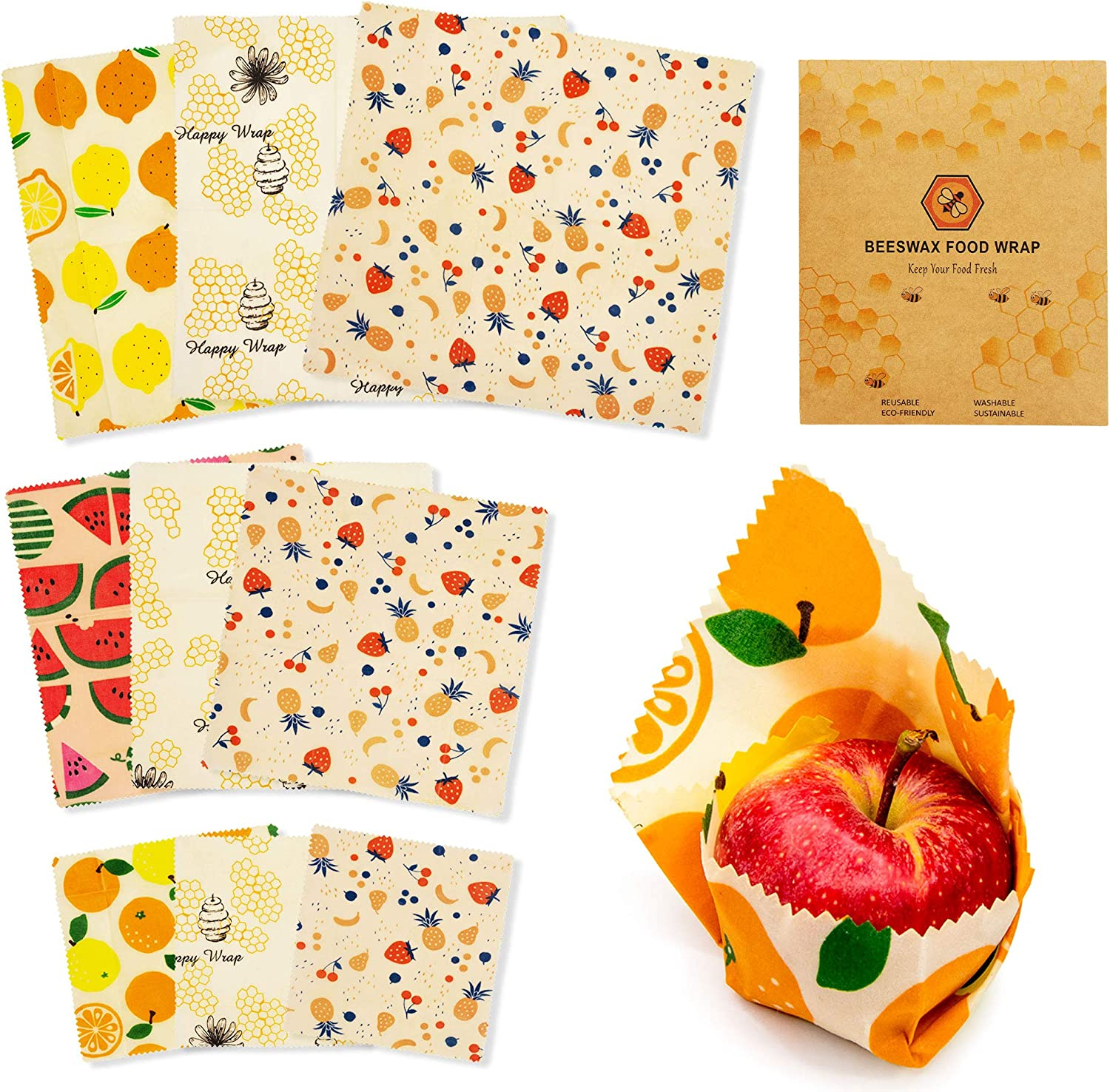 Beeswax Food Wraps Reusable Set - 9 Pcs Sustainable Food Paper Covers with Jojoba Oil and Tree Resin in 3 Sizes Small Medium and Large Plastic Free Alternative Food Storage Bread Sandwich Wrapping