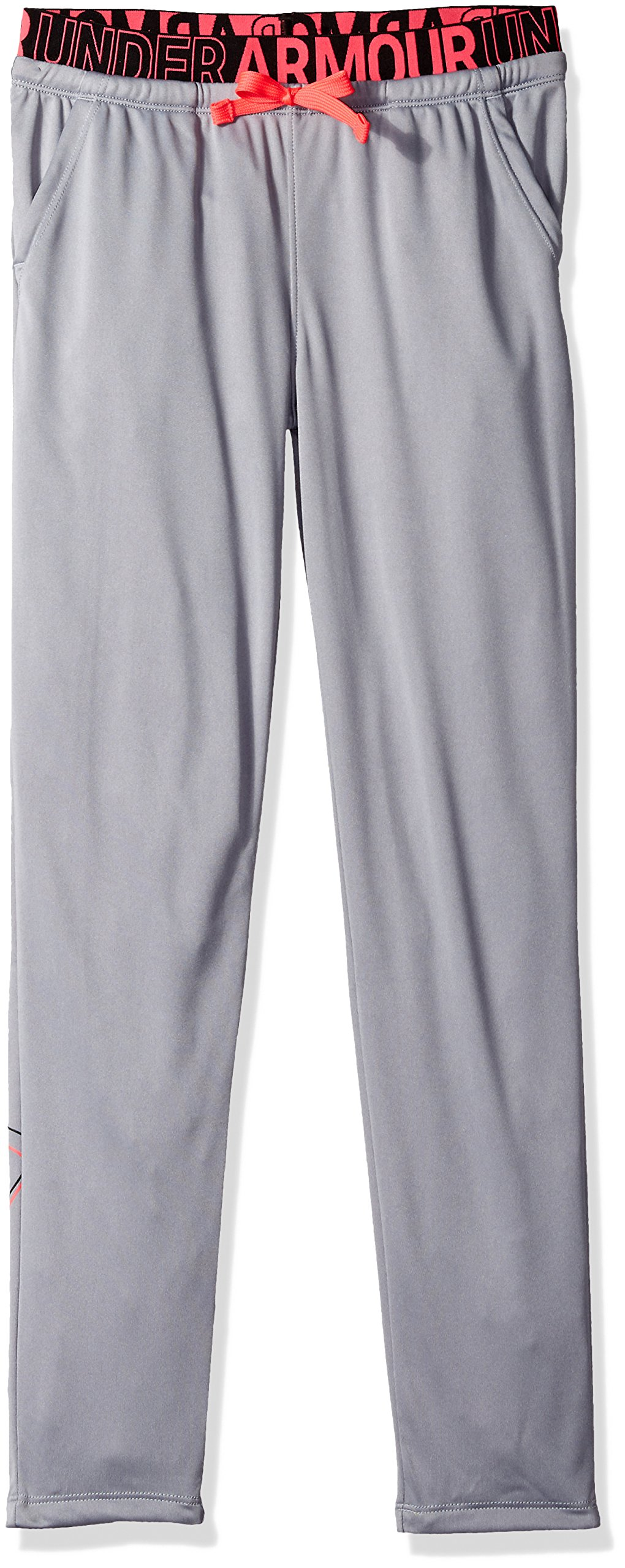 Under Armour Girls Tech Pants, Steel (035)/Black, Youth Small by Under Armour