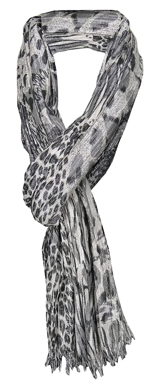 TigerTie - pañuelo arrugado - plata negro gris antracita platahilo animal print - 170 x 50 cm