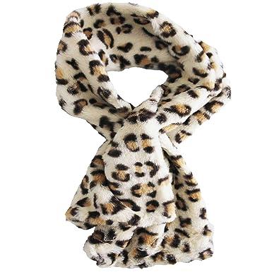 gamme exceptionnelle de styles et de couleurs incroyable sélection Livraison gratuite dans le monde entier FERETI Beige Écharpe Fausse Fourrure Léopard Blanc Panther ...