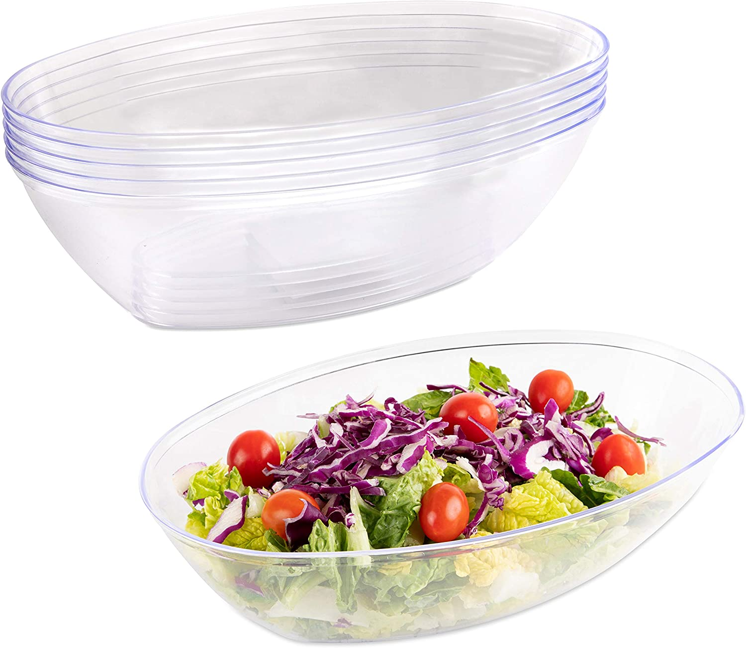 Impressive Creations Plastic Salad Bowl  80 Oz. (Pack of 5) – Heavyweight Disposable Clear Salad Bowl – Durable and Reusable Party Supply Bowl – Perfect Dinnerware