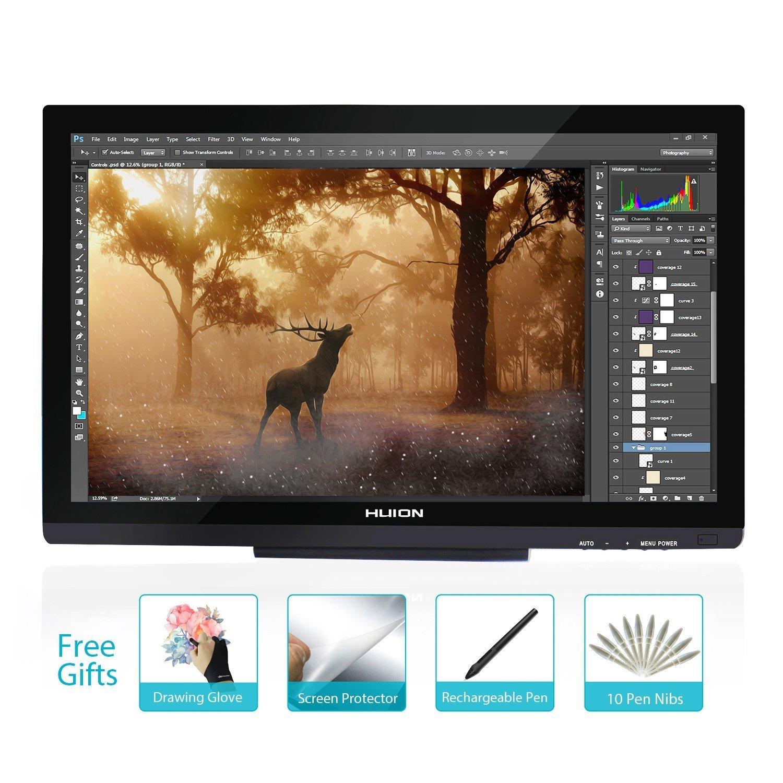 Huion GT-220 V2 8192 Pen Pressure Graphics Drawing Monitor 21.5 inch HD Pen Display Digital Drawing Tablet Monitor - Black