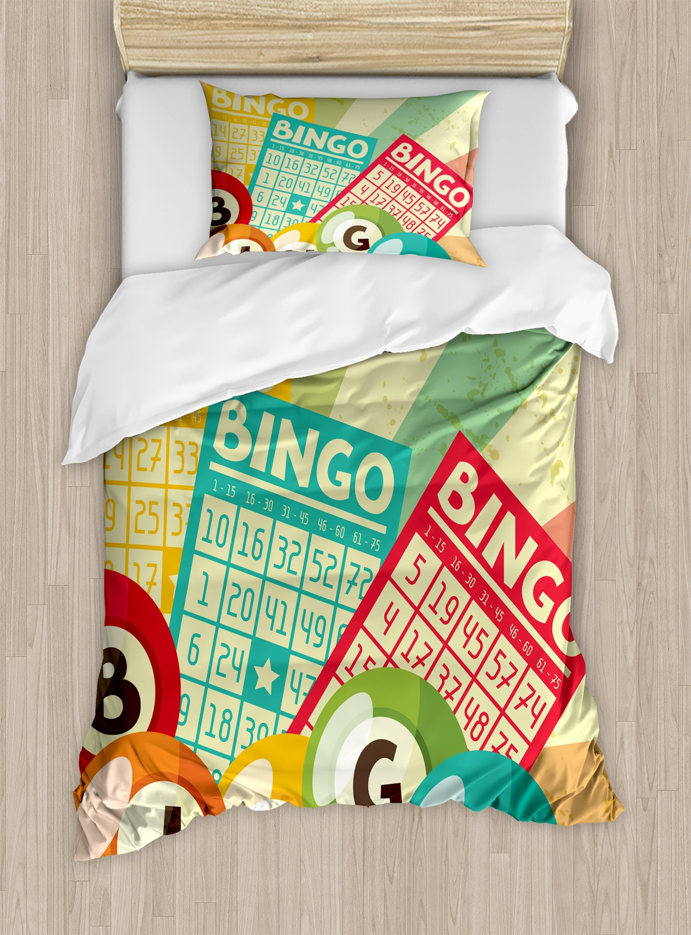 Ambesonne Vintage Duvet Cover Set Twin Size, Bingo Game with Ball and Cards Pop Art Stylized Lottery Hobby Celebration Theme, Decorative 2 Piece Bedding Set with 1 Pillow Sham, Multicolor by Ambesonne