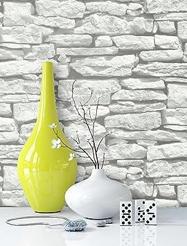 Steintapete in Weiß | schöne edle Tapete im Steinmauer Design | moderne 3D Optik für Wohnzimmer, Schlafzimmer oder Küche inkl