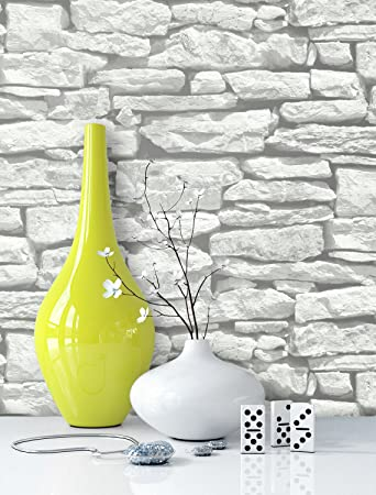 Fantastisch Steintapete In Weiß | Schöne Edle Tapete Im Steinmauer Design | Moderne 3D  Optik Für Wohnzimmer