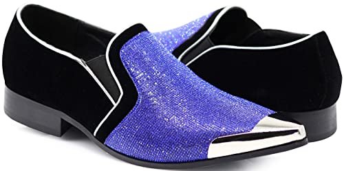 0932347bd8016 Enzo Romeo Crisiano Men Rhinestone Chrome Toe Suede Pointy Dress Loafer  Slip On Shoes