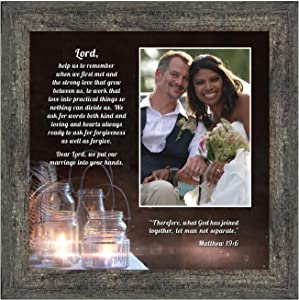 "Christian Wedding Gifts for Couple, Engagement Gift for Bride and Groom, Christian Bridal Shower Gift for Bride, Rustic Wedding Decor, ""A Marriage Prayer"" Picture Framed Poem, 6374BW"