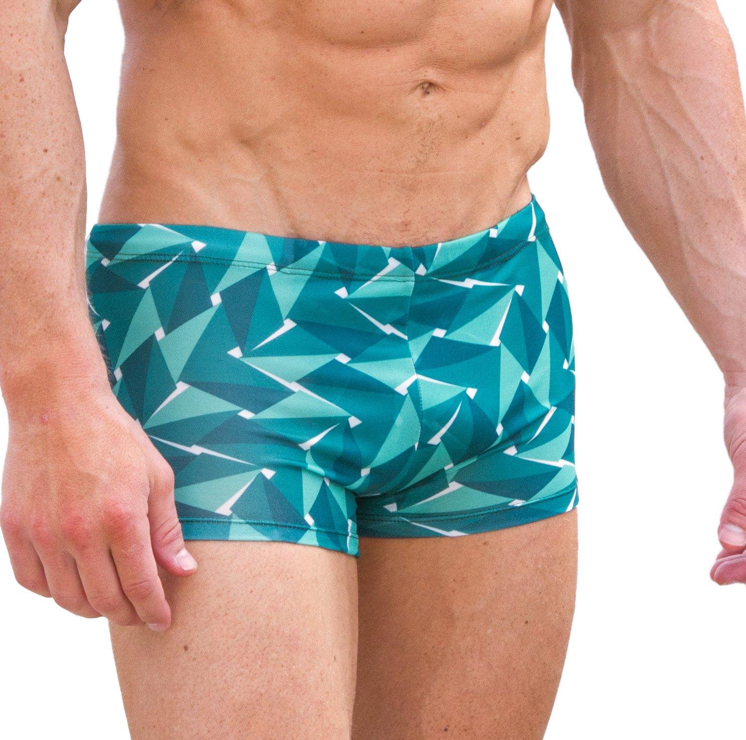Cooltan Men's Sun Through Hipster Swim Shorts Emerald (Large)