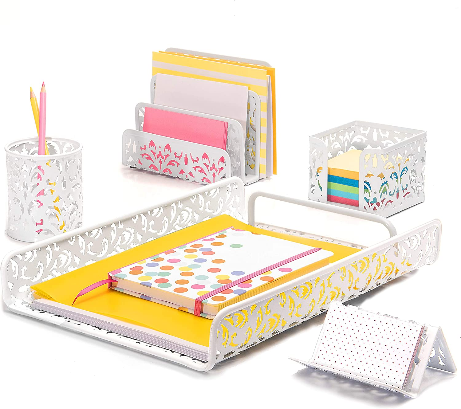 Hudstill White Cute Desk Organizer Set for Women and Girls in Damask Design with 5 Office Supplies Accessories : File Tray, Mail Sorter, Pen Cup, Sticky Notes Holder and Business Card Holder