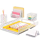 Hudstill White Cute Desk Organizer Set for Women and Girls in Damask Design with 5 Office Supplies Accessories : File…