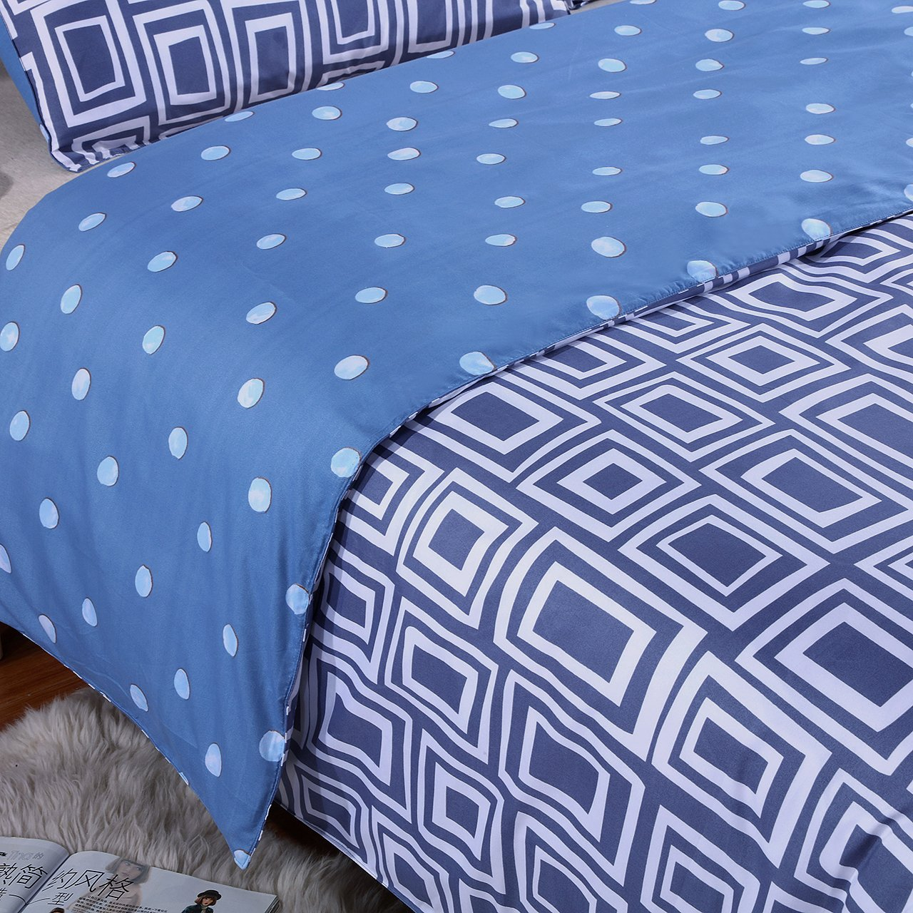 Melody House Hotel Quality Microfiber Reversible Duvet Cover Set Full/Queen 3 Piece Includes 2 Pillow Shams