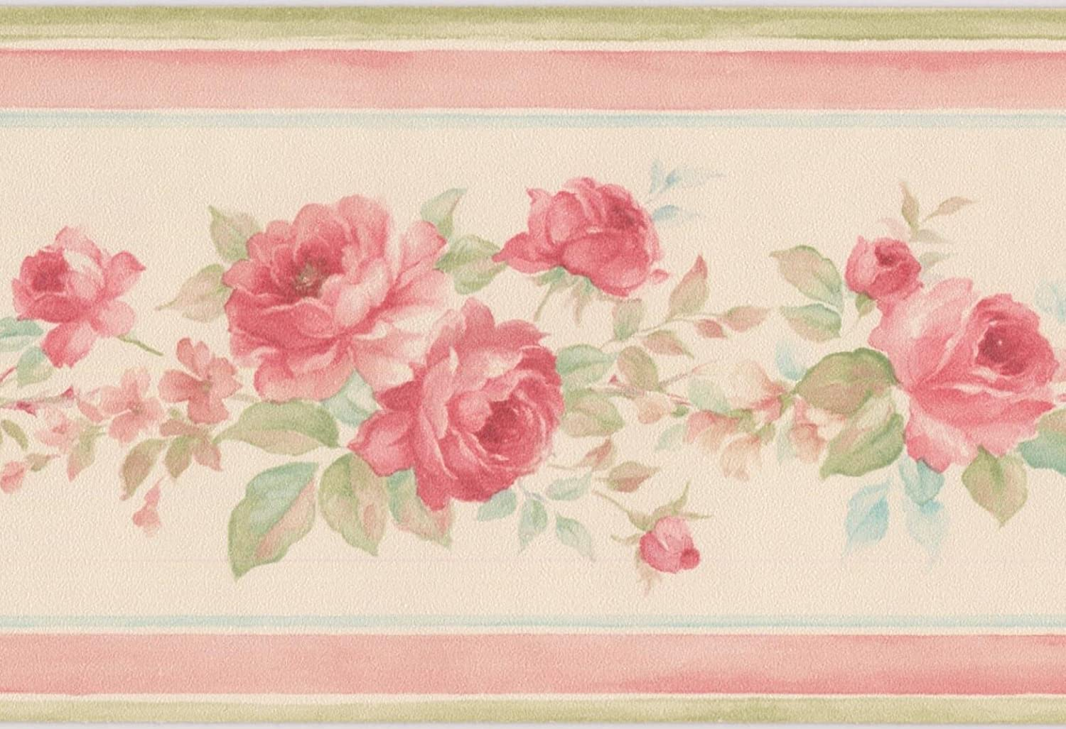 Red Roses In Bouquet Creme White Floral Wallpaper Border Retro