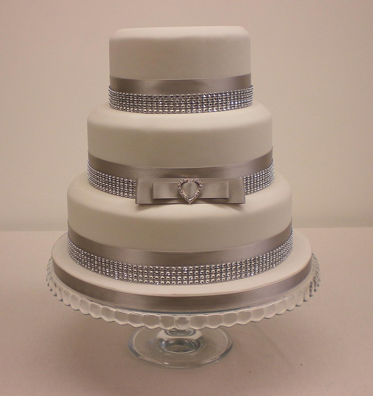 Wedding Cake Love Heart Cake Topper Rhinestone Buckle Satin Silver Grey Diamante Effect Trim Amazon Co Uk Kitchen Home